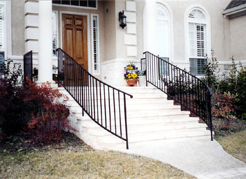 black curved handrail home front entrance