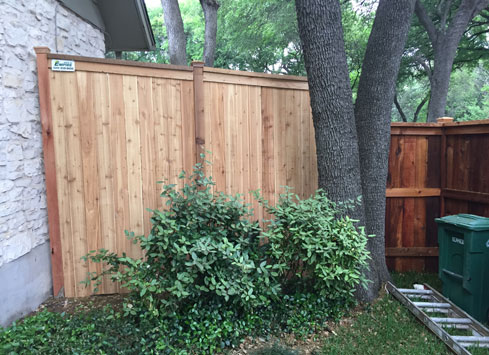 cedar fence with cap and trim around oak tree in backyard