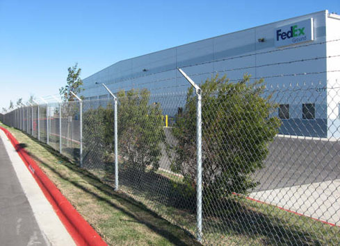 chain link barbed wire fence fedex shipping center