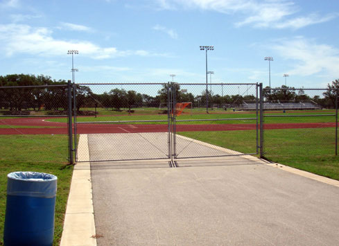 chain link fence gate athletics track and field