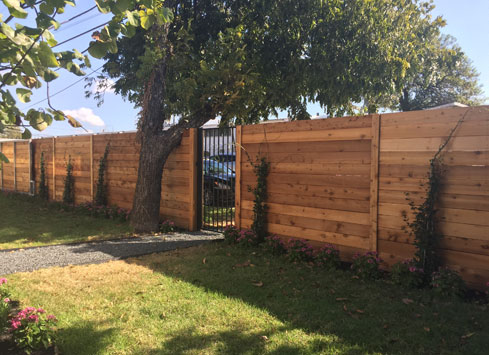 horizontal stained backyard fence with black metal gate