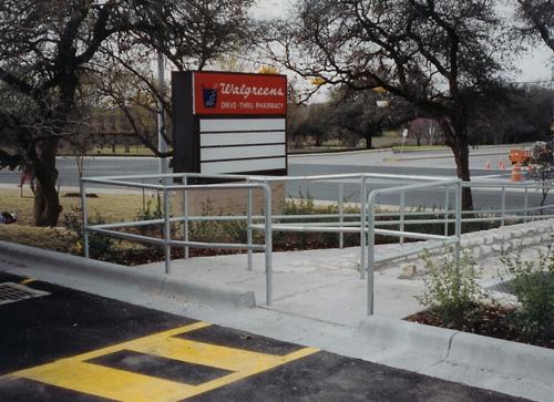 metal handrail walgreens store