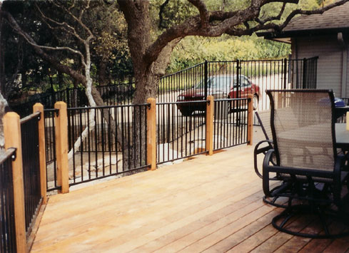 metal handrail wooden deck posts off pool 2
