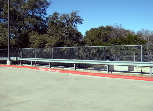 parking lot guardrail with chain link fence