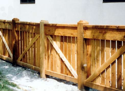 short wooden fence around office building