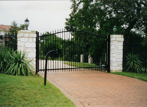 wrought iron driveway gate tall black