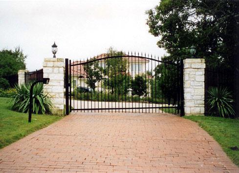 wrought iron tall driveway gate