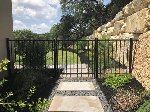 4ft-tall-Flat-top-picket-bottom-2-Rail-Ornamental-Fence-and-Walk-Gate