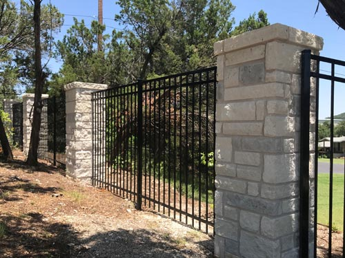 6ft-Tall-3-rail-Flat-top-picket-bottom-Rack-able-panels-with-6.5_-tall-2_x2_-Rock-Columns